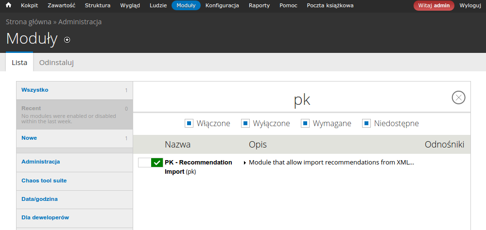 Moduł do importu plików XML