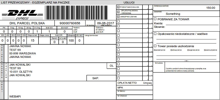 List przewozowy DHL